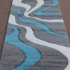 Moderne Teppich Diva 3D Handcarving Grau Türkis Weiss