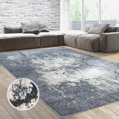 teppich flachflor hochwertig modern wohnzimmer everest stein kachel grau beige ebay. Black Bedroom Furniture Sets. Home Design Ideas