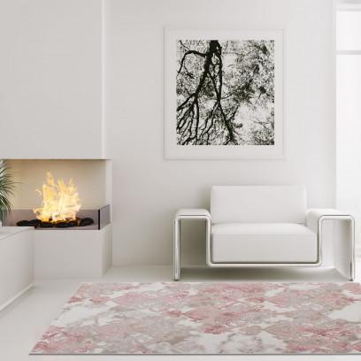 Détails sur Moquette de Qualité Salon Berna 3d Acrylique Ornement Jaune  Bleu Rose Mauve Gris