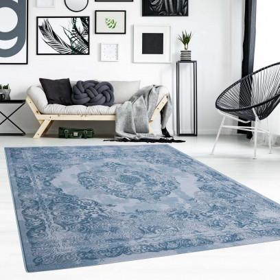 Détails sur Tapis Poil Ras Ornement Oriental Bleu Moderne Salon