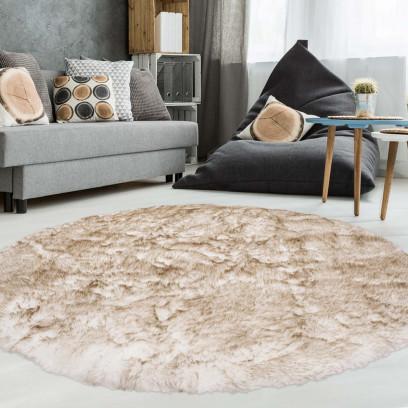 teppich rund schaffell optik polyester wei braun puderrosa blau petrol 160cm ebay. Black Bedroom Furniture Sets. Home Design Ideas
