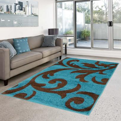 teppich flachflor moda modern gemustert floral blumen t rkis braun wohnzimmer ebay. Black Bedroom Furniture Sets. Home Design Ideas